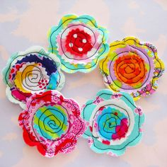 Sewn Fabric Flowers by Laurie Star, via Flickr