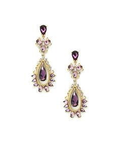 This Goldtone & Purple Drop Earrings is perfect! #zulilyfinds