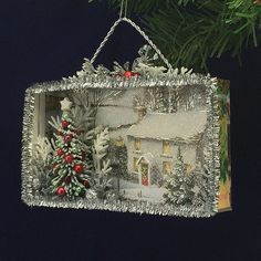 52 Vintage Christmas Ornaments That Take Us To a Stroll Down Memory Lane - Shadow Box - christmas Vintage Christmas Crafts, Christmas Projects, Handmade Christmas, Holiday Crafts, Christmas Holidays, Christmas Cards, Victorian Christmas Decorations, Country Christmas, Cheap Christmas
