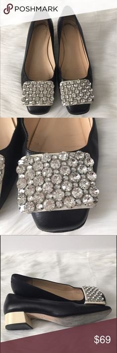 """Kate Spade Black/Beige Rhinestone Low Heel Kate Spade New York embellishes a basic with the creation of this jewel-toed pump. Smooth napa leather upper. Square-toe single sole pump.Jeweled buckle detail atop vamp.1 1/4"""" patent covered heel. Leather lining and sole. Slip-on style. Size: 6.5 Made in Italy. Color(s): Black, Beige, Silver tones, Gently used- insoles have minor wear to heel small nick. 3 stones missing on right shoe you really can't tell. Jn17B14 kate spade Shoes Flats & Loafers"""