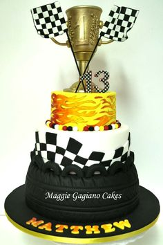 Racing Cake; Racing Flags; Tyre Cake; Hot Rod Flames; Trophy Cake Themed Birthday Cakes, Cars Birthday Parties, Birthday Fun, Themed Cakes, Beautiful Cakes, Amazing Cakes, Racing Cake, Tire Cake, Different Kinds Of Cakes