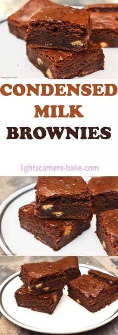 Super chewy, fudgy and dense chocolate brownies using condensed milk as the base. Condensed Milk Desserts, Sweet Condensed Milk, Eggless Cake Recipe Condensed Milk, Recipes With Condensed Milk, Condensed Milk Cookies, Just Desserts, Delicious Desserts, Dessert Recipes, Baking Desserts