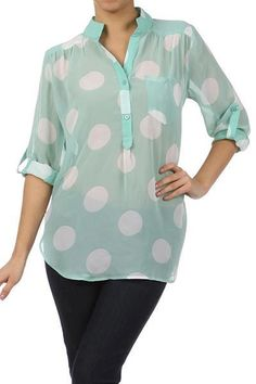 Mint is one of the hottest colors of the season so don't miss out! Pair this with dark skinnies now and white skinnies or shorts this spring and summer!