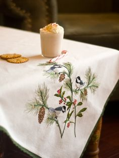 Chickadee Embroidery Tablecloth | Table Linens & Kitchen, Tablecloths :Beautiful Designs by April Cornell