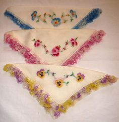 Trio of ViNt. Tatted & Embroidered Pansies & Roses Hankies! 3 Different Patterns #Handmade #TattedLaceandEmbroidered