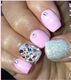 Bejeweled accent nail manicure