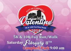 Valentine's Day 10k, 5k Run/Walk   Date/Time: 2/8/2014 9:00 AM Type: Running/Walking City: Bartlett, TN Director: Shan Criswell Email: scriswell@cityofbartlett.org Distance: 10k and 5k Details: NOTE NEW START TIME FOR 2014 IS 9am  Compete individually or in the Couples Sweetheart Division! Refreshments and the awards ceremony will be held in the comfort and warmth of the Bartlett Baptist Church Auditorium. The run also features sweatshirts, great food, and great door prizes.