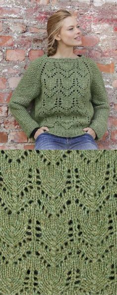 Free Knitting Pattern for Lace Raglan Jumper. Free sweater knitting pattern with a lace design on the bodice and easy textured stitch sleeves.