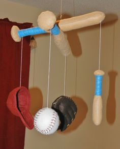 baseball nursery | Sports / Baseball Themed Baby Mobile - Handmade with Felt - Made To ...