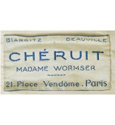 Chéruit (Madame Wormser) label, from 1910s silk tunic