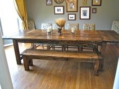 How to make a farmhouse dining room table. I WANT THIS TABLE w/bench @Justin Dickinson Dickinson Valentine Farmhouse Dining Room Table, Rustic Table, Diy Table, Rustic Wood, Table Bench, Barn Wood, Farmhouse Table Plans, Farmhouse Chic, Home Kitchens