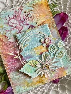 Cool Diy Projects, Craft Projects, Projects To Try, Tim Holtz Dies, Mixed Media Cards, Nest Design, Creative Cards, Flower Cards, Doodle Art