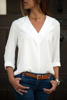 Ekru Çift Yakalı Gömlek Bluz
