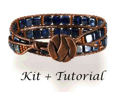 """Wrap Bracelet KIT: Jewelry Making Kit for Beaded Leather Bracelet (supplies & step-by-step beading tutorial includ.) """"Bluejeans"""""""