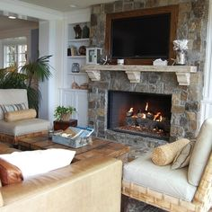 Stone Fireplaces Design Ideas, Pictures, Remodel, and Decor - page 4