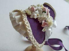 dollhouse miniature 1/12th scale silk bonnet