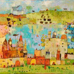 "Jane Filer ""Le Cite"" Acrylic on Canvas"