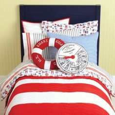 Kids Bedding: Nautical Red Stripe Quilt - Twin Red/White Nautical Quilt and other furniture & decor products. Browse and shop related looks.