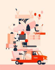 Kate Furniture is moving - both physically and visually. // Loving the idea of stacking so many objects on a Moving Vehicle LEL