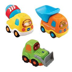 VTech Baby Toot-Toot Drivers Car Construction Vehicles - Multi-Coloured, Pack of 3
