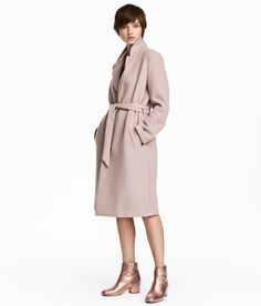 Check this out! Coat in felted fabric with notched lapels and welt side pockets. Tie belt at waist and no buttons. Vent at back. Unlined. - Visit hm.com to see more.