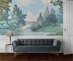 Landscape Murals: Inspiration & Sources | Centsational Style Scenic Wallpaper, Antique Wallpaper, Landscape Wallpaper, Print Wallpaper, Countryside Wallpaper, Forest Mural, Traditional Interior, French Countryside, Decorative Panels