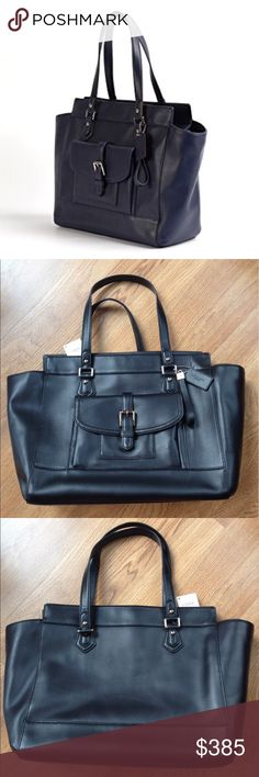 | new | COACH Charlie East West Leather Tote 🔷BUNDLE & SAVE 30%🔷 Black leather, zip top closure, shoulder strap has 12in drop, convenient & stylish front pocket with magnetic closure, black interior has 1 zip pocket & 3 multi-functional slip pockets, metal feet at each bottom corner, silver hardware, 15in(L) 10in(H) 7in(W) very sophisticated & classy! Coach Bags Totes