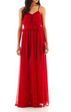 Mango Red Strappy Maxi Dress