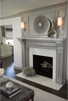 Grey Fireplace, Fireplace Redo, Farmhouse Fireplace, Fireplace Remodel, Living Room With Fireplace, Fireplace Surrounds, Fireplace Design, Simple Fireplace, Painted Fireplace Mantels