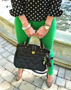 Pink Champagne: Spots and Dots featuring J.Crew, Kate Spade, Pink Bubbly, and Brahmin. #fashionblogger #streetstyle
