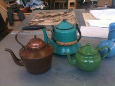 Misc vintage tea kettles and teapots. Portguese Copper tea kettle, Aqua Enameled Tea Kettle, Green Moroccan Teapot. from my collection