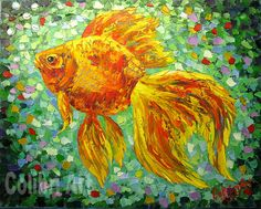 "Author's reproduction (giclee) of Original Handmade Oil Painting ""Three wishes"" 16"" x 20"" on Canvas Impasto by Colibri Art Materials: gallery canvas, oil paints, palette knife  Prints  Giclée  fish  picture goldfish  goldfish  gift girl  gifts for women  orange  green print on the fabric  painting in nursery  author printing"
