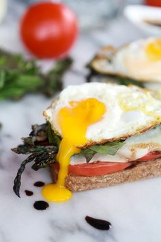 Roasted Asparagus Caprese Melt with Balsamic Drizzle and Fried Egg-1