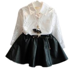 17.78$  Buy now - http://alibjb.shopchina.info/go.php?t=32595684574 - Toddler Girl Clothes 2017 Autumn Girl Clothes Set Long Batwing Sleeve Baby Children Clothing Set Lace Blouse + TuTu Skirt 2-7T  #buyonline