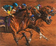 Jaime Corum Keeneland Magazine Breeder's Cup Cover Jaime is honored to have been chosen for the October cover of Keeneland Magazine. Artist Painting, Painting & Drawing, Unicorn Tapestries, Horse Artwork, Horse Mural, Derby Horse, Racehorse, Equine Art, Horse Breeds