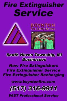 Fire Extinguisher Service South Haven Charter Township, MI (517) 316-9911Local Michigan Businesses Discover the Complete Fire Protection Source.  We're Boynton Fire Safety Service.. Call us today!