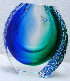 Alessandro Mandruzzato Murano Glass Vase Blue Green with COA