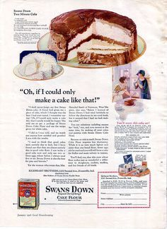 Vintage Ad Swans Down Cake Flour with Recipe 1920s* Merry Xmas to all Pinterest friends my Xmas gift to you 1500 free paper dolls at The International Paper Doll Society also gift of free paper dolls at The China Adventures of Arielle Gabriel *
