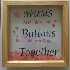 Items similar to Mums are like buttons on Etsy Personalised Frames, Love Frames, My Etsy Shop, Buttons, Creative, Gifts, Handmade, Gift Ideas, Facebook