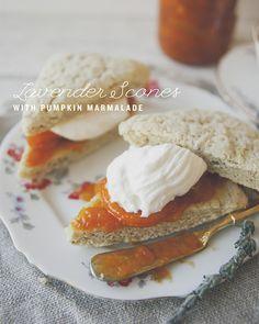 Lavender Scones with Homemade Devonshire Cream and Pumpkin Marmalade **