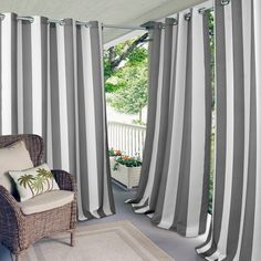 Elrene Home Fashions Indoor/Outdoor Patio Gazebo Pergola Cabana Stripe Grommet Balcony Curtains, Drapes Curtains, Front Porch Curtains, Porch Privacy, Balcony Window, Striped Curtains, Mosquito Curtains, Grommet Curtains, Drapery