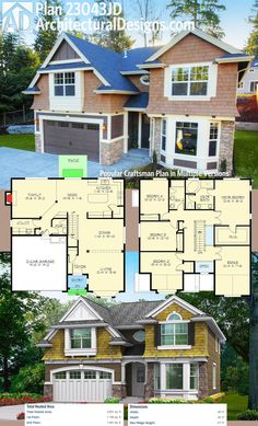 Architectural Designs Craftsman House Plan 23043JD has a stone, siding and shingle exterior. The main floor has an open plan and the upstairs has all four bedrooms plus a bonus room (factored into the total living area).  Ready when you are. Where do YOU want to build?