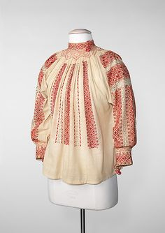 Blouse Date: fourth quarter century Culture: Romanian Medium: cotton, silk, metal Dimensions: Length at CB: 24 in. cm) Credit Line: Brooklyn Museum Costume Collection at The Metropolitan Museum of Art, Fashion Art, Fashion Outfits, Folk Embroidery, Embroidery Designs, Costume Collection, Costume Institute, Folk Costume, Metropolitan Museum, Traditional Dresses