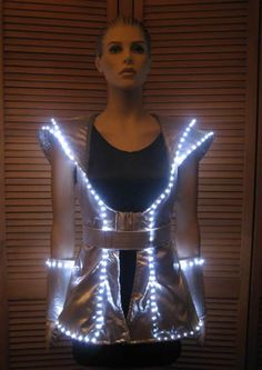 Lighted Space Dress: Enlighted Illuminated Clothing Space Fashion, Fashion Show, Fashion Design, Festival Looks, Futuristic Costume, Fancy Dress, Dress Up, Space Costumes, Space Girl