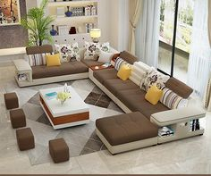 Living room furniture styles - Modern Luxury U Type Fabric Sofa Living Room Sofa Design, Living Room Furniture, Living Room Designs, Living Room Decor, Bedroom Decor, Office Furniture, Corner Furniture, Furniture Dolly, Bedroom Modern