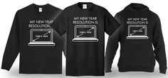 New Year Resolution Printed Unisex Shirts/Hoodies. Shirt is printed to simulate glitter and metallic. 100% cotton shirt, available in Men's, Ladies and kids. Choose shirt style, size and color! Colors will not match computer screen. | eBay!