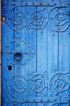 missingsisterstill:    Great Detailed Antique Blue Wood and Metal Door