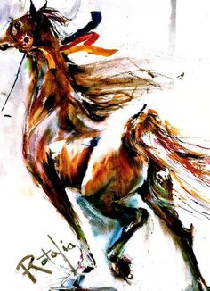 The Winner- Best in show Watercolor Horse Print SIGNED by the Artist Carol Ratafia DOUBLE MATTED to 16x20 $44.60