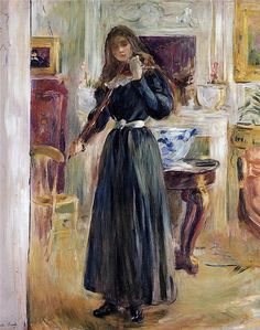 Julie Playing a Violin, Berthe Morisot. French Impressionist Painter (1841-1895)