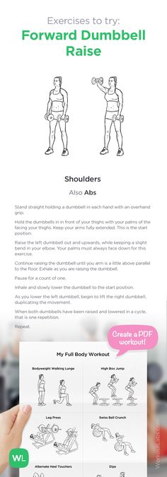 Exercise to try: Forward Dumbbell Raise | Add it to your custom printable workout at http://WorkoutLabs.com!
